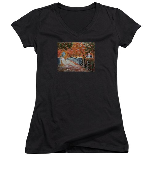 One Lane Bridge Women's V-Neck T-Shirt