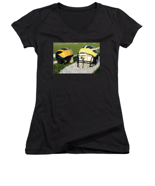 One Old, One New Wolverine Helmets On The Field Women's V-Neck (Athletic Fit)