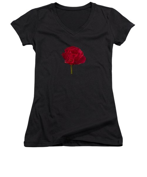 One Red Flower Tee Shirt Women's V-Neck (Athletic Fit)