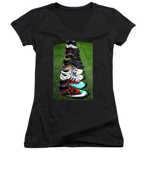 One Team ... Women's V-Neck T-Shirt (Junior Cut) by Juergen Weiss