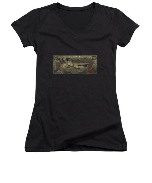 Women's V-Neck T-Shirt (Junior Cut) featuring the digital art One U.s. Dollar Bill - 1896 Educational Series In Gold On Black  by Serge Averbukh