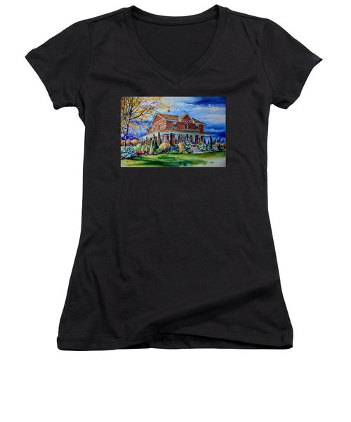 Women's V-Neck T-Shirt featuring the painting Ontario House Portrait  by Hanne Lore Koehler