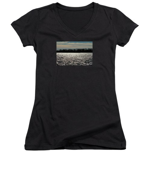 Women's V-Neck T-Shirt (Junior Cut) featuring the photograph Ontario Winter Reflections by Valentino Visentini