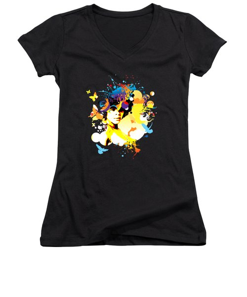 Onxy Doves - Bespattered Women's V-Neck T-Shirt (Junior Cut) by Chris Andruskiewicz