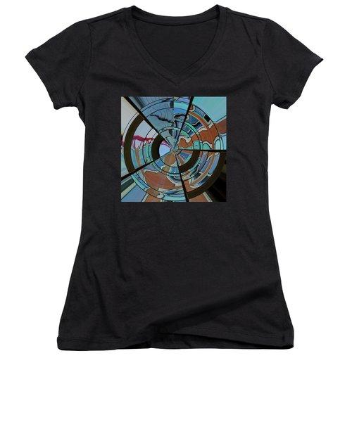 Op Art Windows Orb Women's V-Neck T-Shirt (Junior Cut) by Marianne Campolongo
