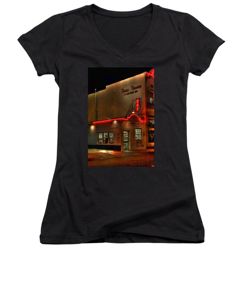 Open All Nite-texas Tavern Women's V-Neck (Athletic Fit)
