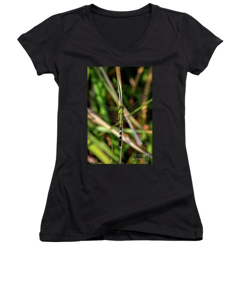 Women's V-Neck T-Shirt (Junior Cut) featuring the photograph Openminded Green Dragonfly Art by Reid Callaway
