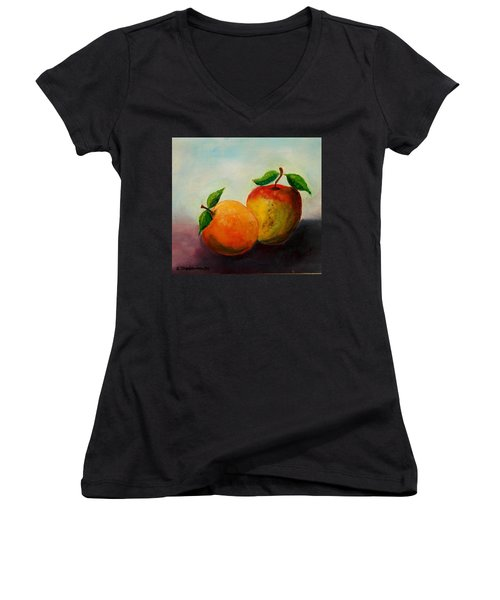 Apple And Orange Women's V-Neck (Athletic Fit)