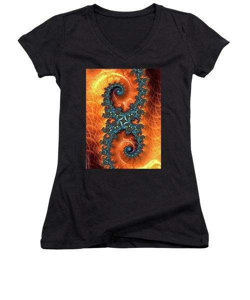 Women's V-Neck T-Shirt featuring the digital art Orange And Cyan Fractal Art by Matthias Hauser