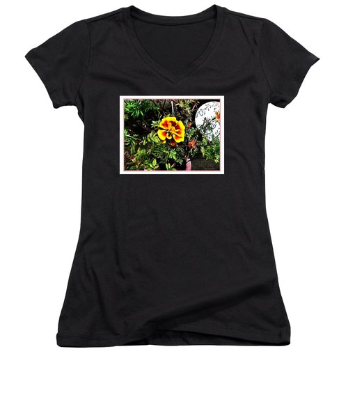Women's V-Neck T-Shirt (Junior Cut) featuring the photograph Orange And Yellow Flower by Joan  Minchak