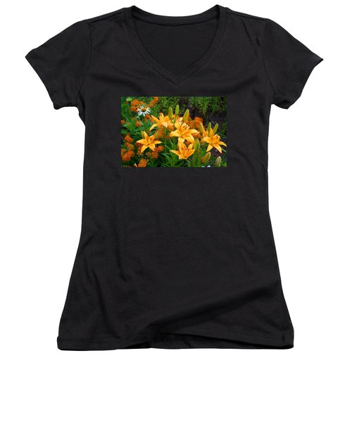 Women's V-Neck T-Shirt (Junior Cut) featuring the photograph Orange Asiatic Lilies And Butterfly Weed by Kathryn Meyer