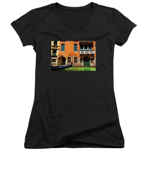 Orange Building And Gondola Women's V-Neck