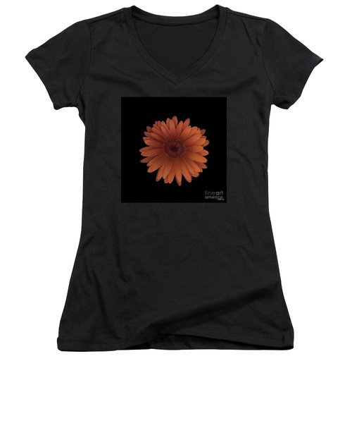 Orange Daisy Front Women's V-Neck T-Shirt (Junior Cut) by Heather Kirk