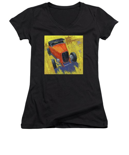 Orange Hot Rod Roadster Women's V-Neck