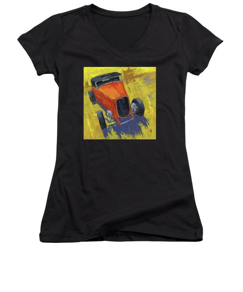 Orange Hot Rod Roadster Women's V-Neck