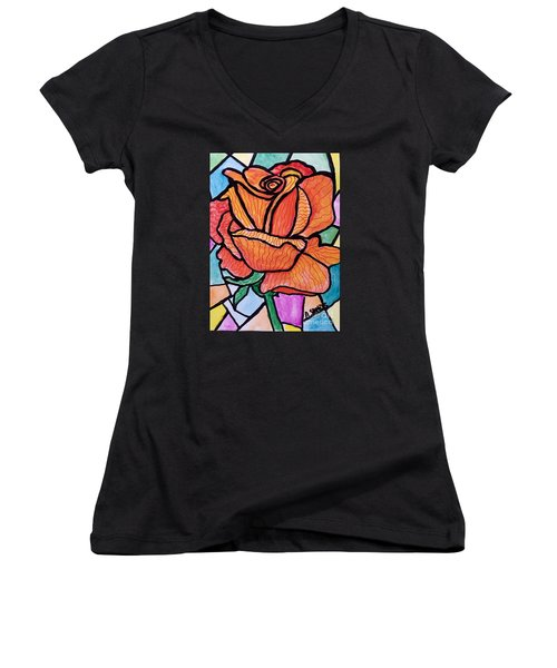 Orange Stained Glass Rose Women's V-Neck