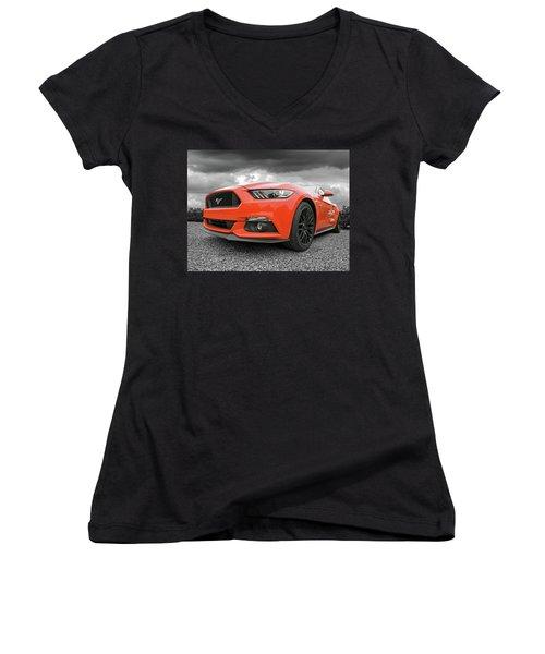 Orange Storm - Mustang Gt Women's V-Neck T-Shirt (Junior Cut) by Gill Billington