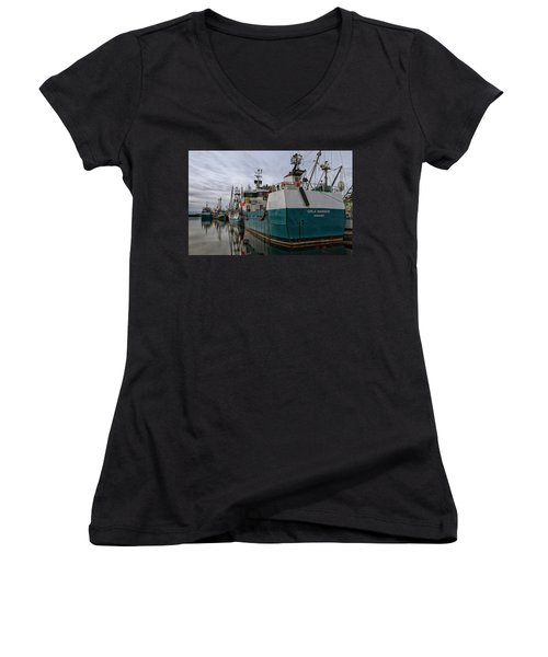 Women's V-Neck T-Shirt (Junior Cut) featuring the photograph Orca Warrior by Randy Hall