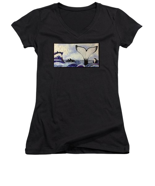 Orcas At Play Women's V-Neck