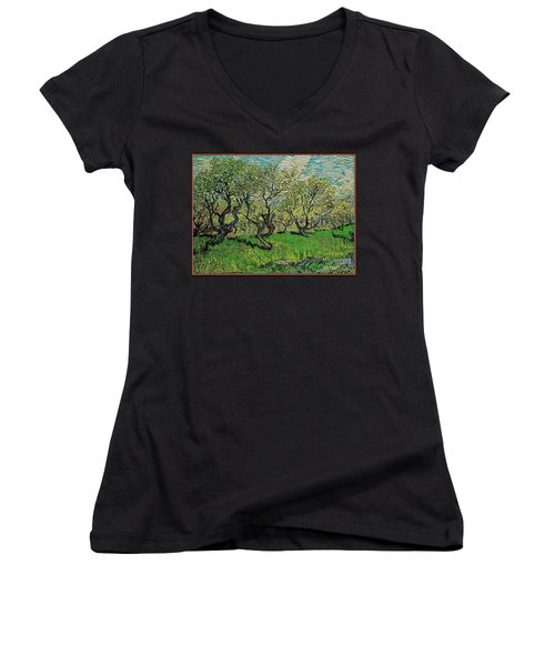 Orchard In Blossom Women's V-Neck T-Shirt (Junior Cut) by Pemaro