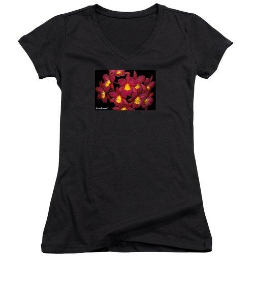Orchid Floral Arrangement Women's V-Neck T-Shirt (Junior Cut) by Gary Crockett