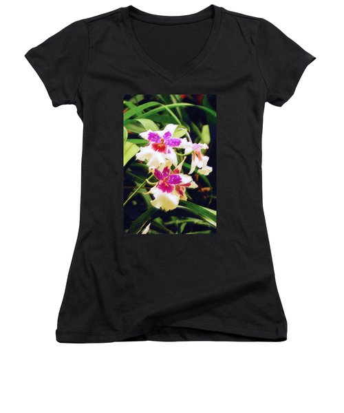 Women's V-Neck T-Shirt (Junior Cut) featuring the painting Orchids 1 by Sandy MacGowan