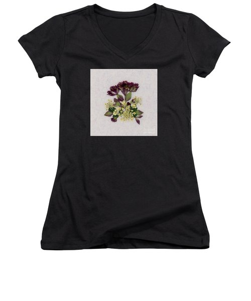 Oregano Florets And Leaves Pressed Flower Design Women's V-Neck (Athletic Fit)