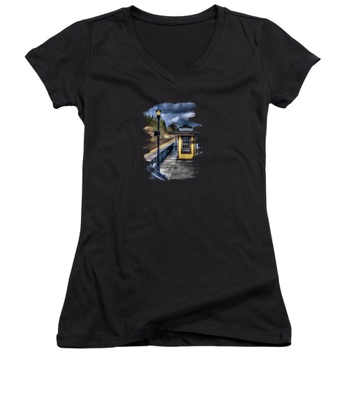 Oregon City Train Depot Women's V-Neck T-Shirt (Junior Cut) by Thom Zehrfeld