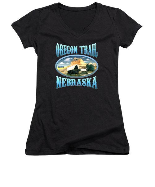 Oregon Trail Nebraska History Design Women's V-Neck (Athletic Fit)