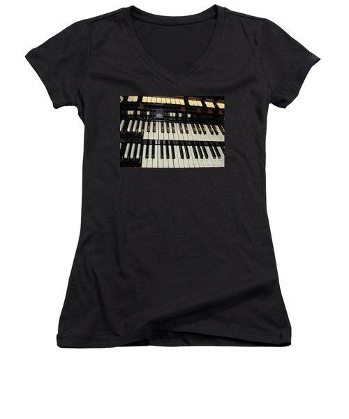 Hammond Organ Keys Women's V-Neck (Athletic Fit)