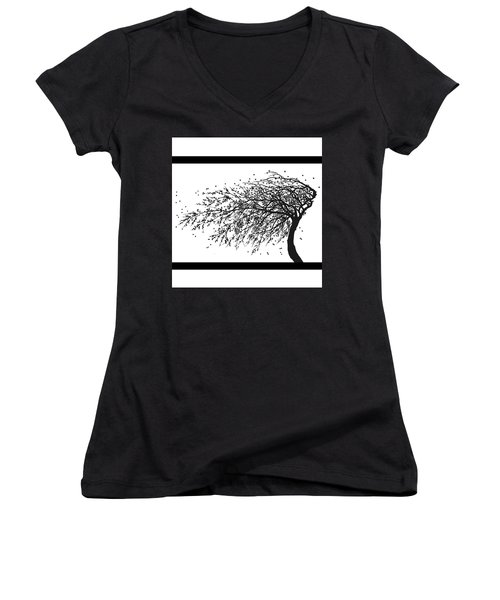 Women's V-Neck T-Shirt (Junior Cut) featuring the mixed media Oriental Foliage by Gina Dsgn