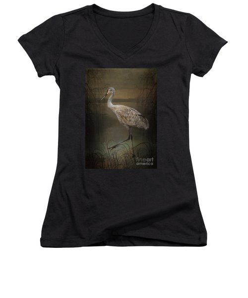 Oriental Sandhill Crane Women's V-Neck (Athletic Fit)