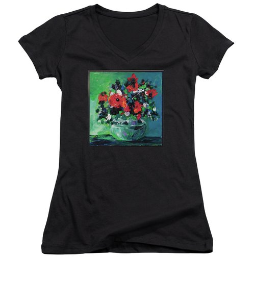 Women's V-Neck T-Shirt (Junior Cut) featuring the painting Original Bouquetaday Floral Painting By Elaine Elliott, Blues And Greens, 12x12, 59.00 Incl. Shippin by Elaine Elliott