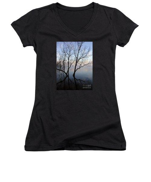 Women's V-Neck T-Shirt (Junior Cut) featuring the photograph Original Dancing Tree by Paula Guttilla