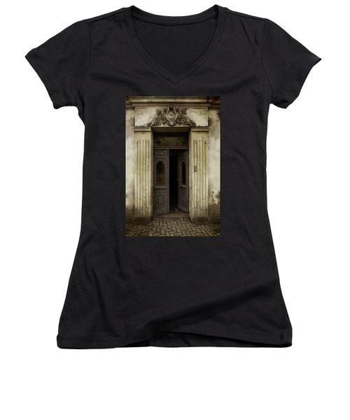 Ornamented Gate In Dark Brown Color Women's V-Neck T-Shirt (Junior Cut) by Jaroslaw Blaminsky