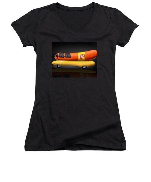 Oscar Mayer Wiener Mobile Women's V-Neck T-Shirt (Junior Cut) by Gary Warnimont
