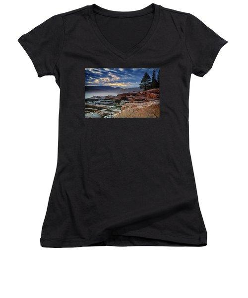 Otter Cove In The Mist Women's V-Neck T-Shirt (Junior Cut) by Rick Berk