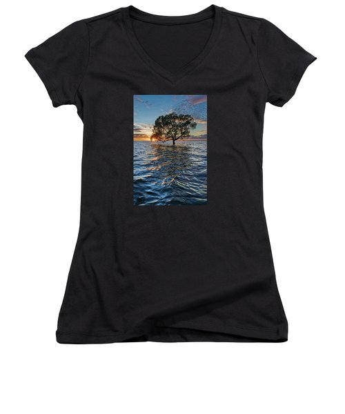 Out At Sea Women's V-Neck T-Shirt (Junior Cut) by Robert Charity