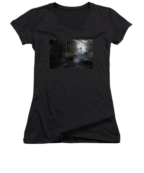 Out Of The Storm Women's V-Neck T-Shirt (Junior Cut) by Gray  Artus