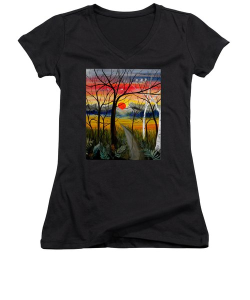 Women's V-Neck T-Shirt (Junior Cut) featuring the painting Out Of The Woods by Renate Nadi Wesley