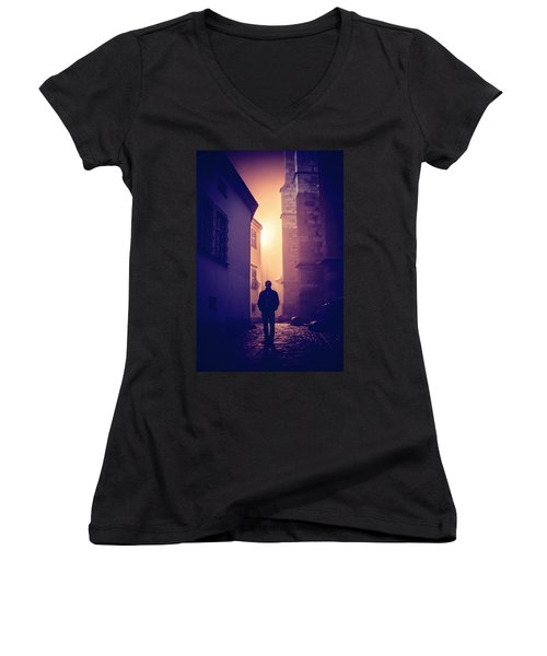 Women's V-Neck T-Shirt (Junior Cut) featuring the photograph Out Of Time by Jenny Rainbow