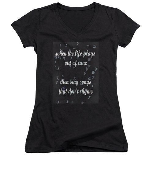 Out Of Tune Black Women's V-Neck T-Shirt (Junior Cut) by Keshava Shukla