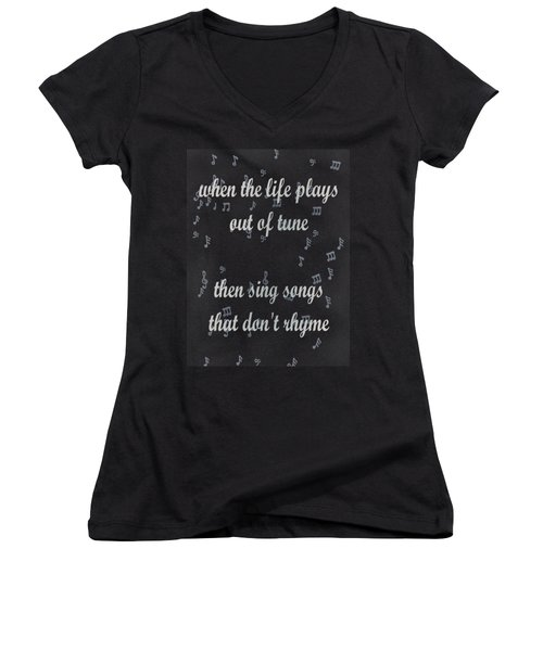 Out Of Tune Black Women's V-Neck T-Shirt