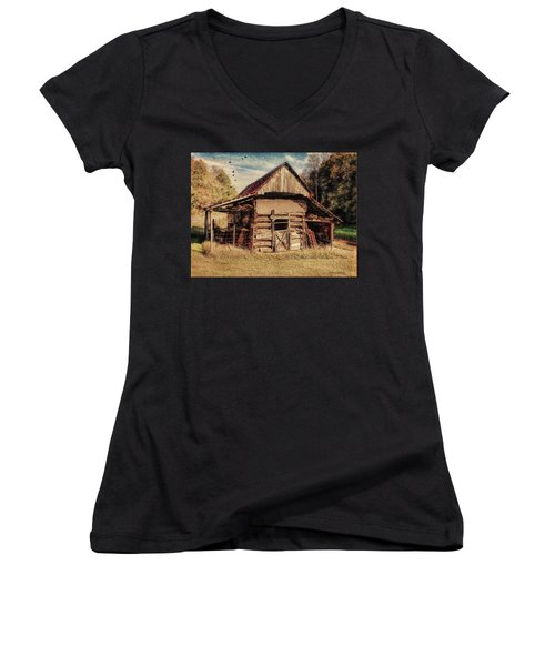 Women's V-Neck T-Shirt featuring the photograph Out To Pasture 2 by Bellesouth Studio