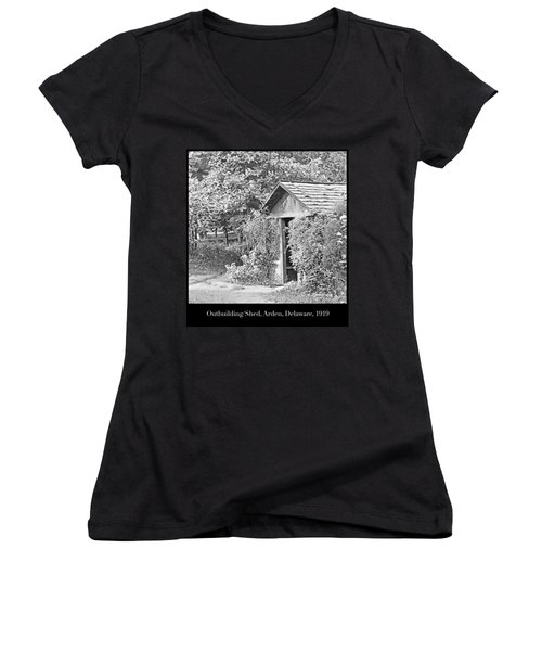 Women's V-Neck T-Shirt (Junior Cut) featuring the photograph Outbuilding, Shed Arden Delaware 1919 by A Gurmankin