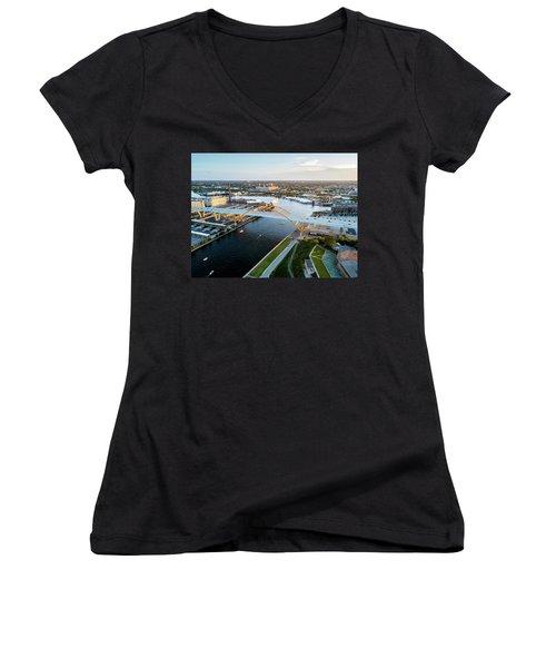 Women's V-Neck T-Shirt featuring the photograph Over The Hoan by Randy Scherkenbach