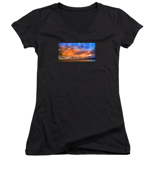 Women's V-Neck T-Shirt (Junior Cut) featuring the photograph Over The Top Rainbow by Steve Siri
