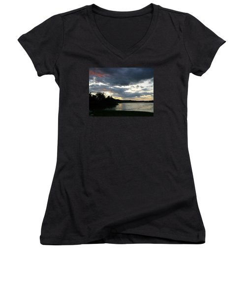 Overcast Morning Along The River Women's V-Neck T-Shirt (Junior Cut) by Skyler Tipton