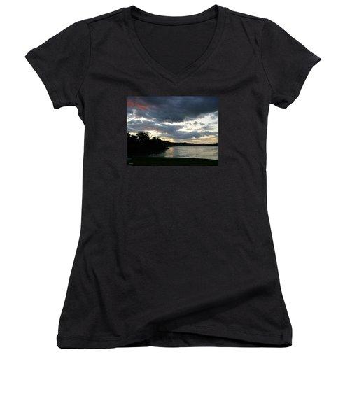 Overcast Morning Along The River Women's V-Neck T-Shirt