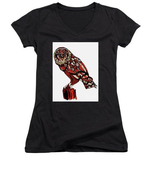 Owl Women's V-Neck T-Shirt